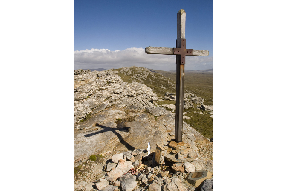 Memorial to the fallen of Mount Tumbledown, Falkland Islands (stock image)