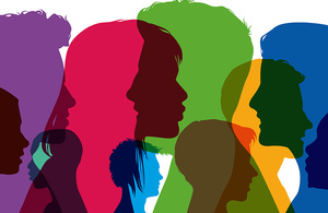 Silhouettes of young people coloured in bright colours