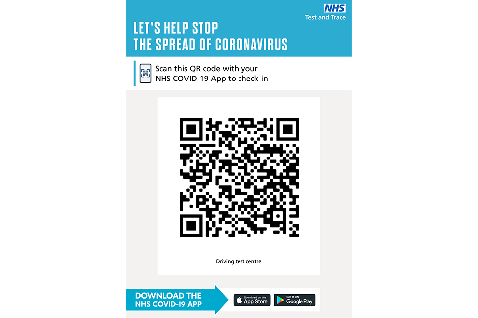 An example of a poster that will be at driving test centres. It includes a QR code in the middle of the poster that must be scanned.