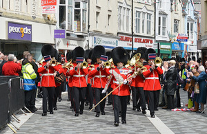 The Band of the Welsh Guards leads the parade through Pontypridd town centre [Picture: Corporal Richard Cave RLC, Crown copyright]