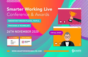 Smarter Working Live conference and awards, innovation through places, people, processes and technology, 26th November 2020, official partners are Government Property Agency and Gov News Direct