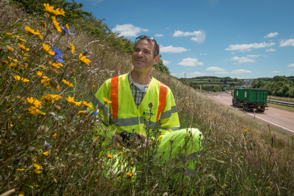 Ecologist Leo Gubert at the company's grassland planting site on the A30