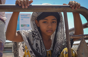 A Yemeni girl at a food distribution point in Yemen, April 2020. Picture: WFP