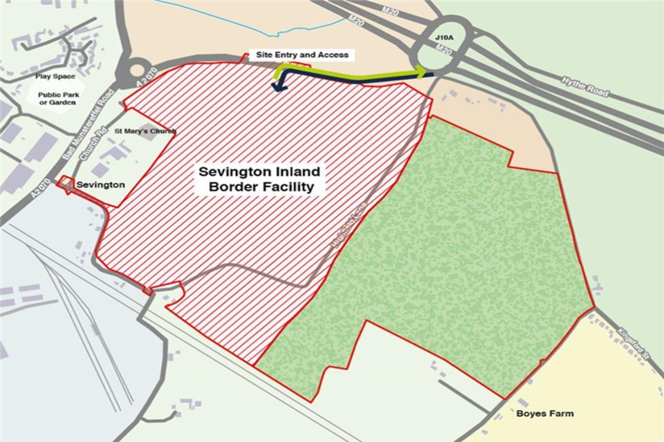 Map of Sevington Inland Border Facility