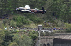 The Royal Air Force Battle of Britain Memorial Flight's Lancaster bomber sweeps low over the Derwent Reservoir in Derbyshire to commemorate the 70th anniversary of the Dams Raid [Picture: Senior Aircraftwoman Helen Farrer, Crown copyright]