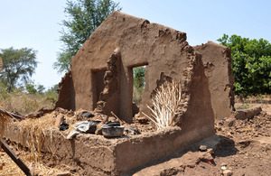 Remains of Edicas' mud hut, Karonga, north Malawi. Picture: Shareefa Choudhury/DFID
