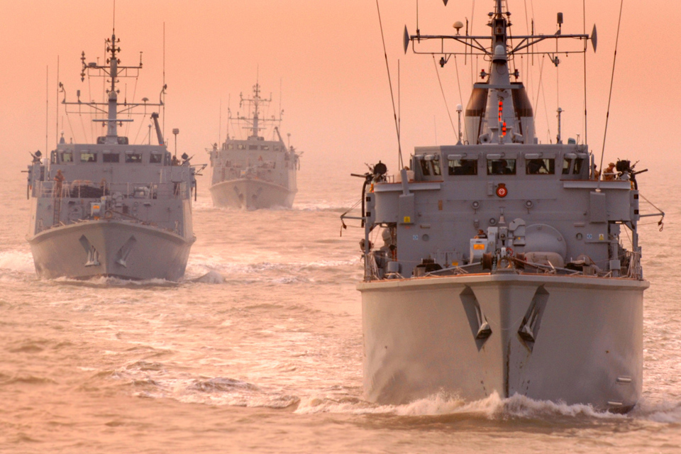 HMS Atherstone (front) leads UK minehunters