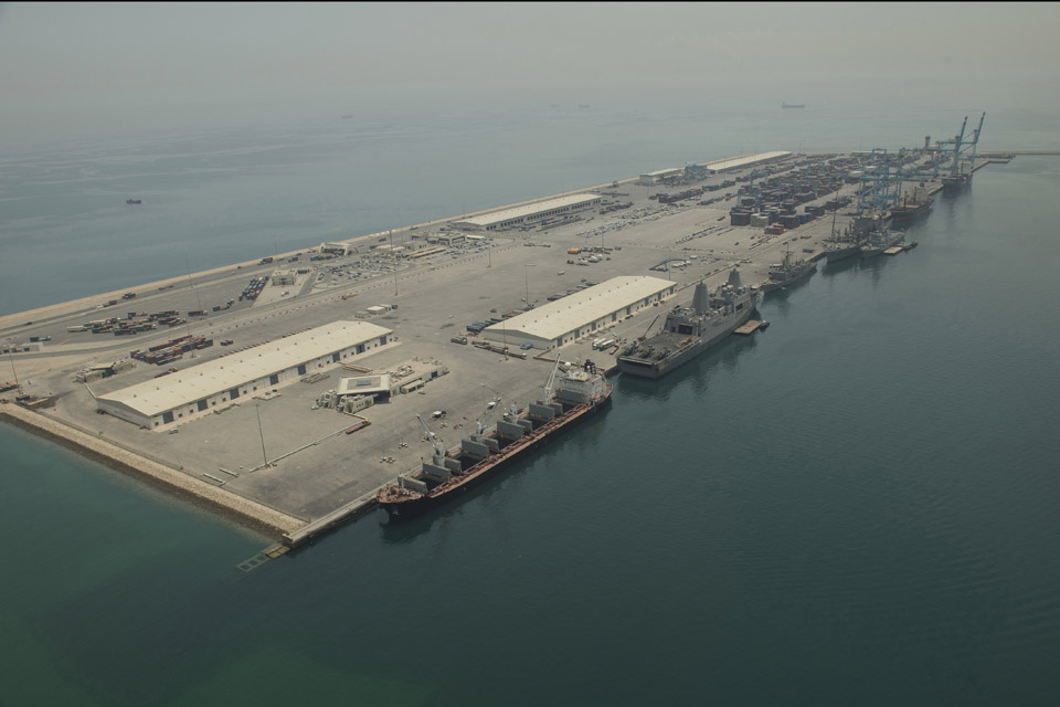 International warships moored at Bahrain