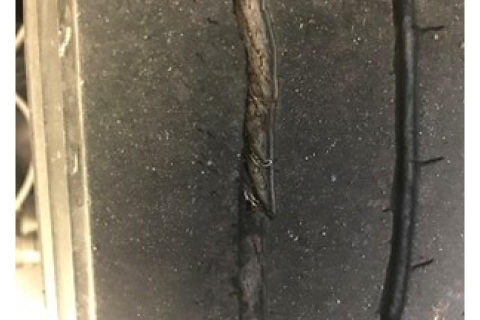Tyre regrooved too deep