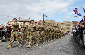 Royal Marines of 40 Commando marching through Taunton [Picture: Leading Airman (Photographer) Vicki Benwell, Crown copyright]