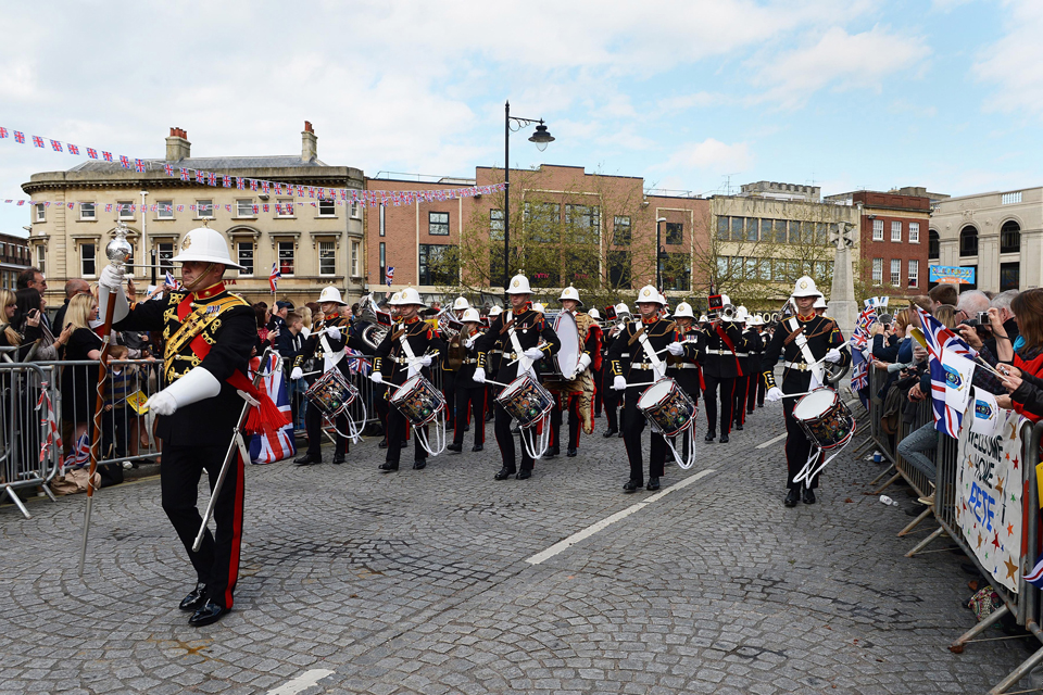 The Band of HM Royal Marines Plymouth marching through Taunton