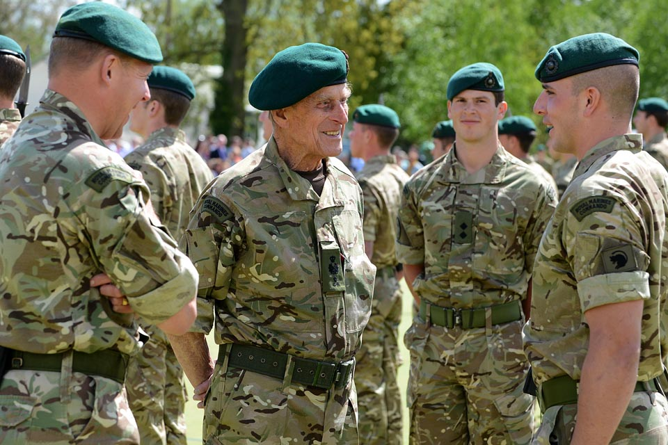 The Duke of Edinburgh speaks with Royal Marines
