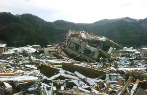 A house turned completely upside down by the force of the tsunami, in part of Kamaishi's Unosumia suburb. Picture: Ed Hawkesworth/Department for International Development