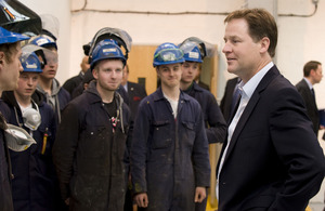 Nick Clegg meets factory workers