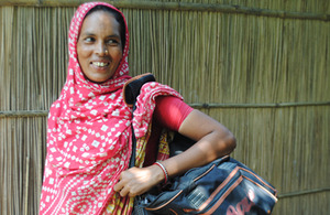 Off to work: Joytara, one of the women whose life has been changed for the better through JITA. Picture: Kathryn Richards/CARE