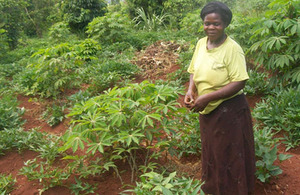 Agnes Kalya shows off her thriving sweet potato plants. Picture: HarvestPlus