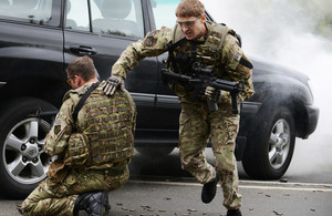 A simulated bomb blast and ambush test members of the 156 Provost Company Royal Military Police close protection team in Colchester [Picture: Corporal Obi Igbo, Crown copyright]