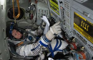 ESA astronaut Timothy Peake, from the United Kingdom, training with the Soyuz simulator in Star City, Russia in September 2010.
