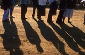 Queuing at an AIDS clinic, South Africa