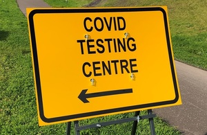 Glasgow Covid test centre sign