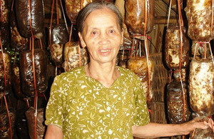 Bags of potential: Mushroom farmer Pham Thi Cau with her produce. Picture: DFID