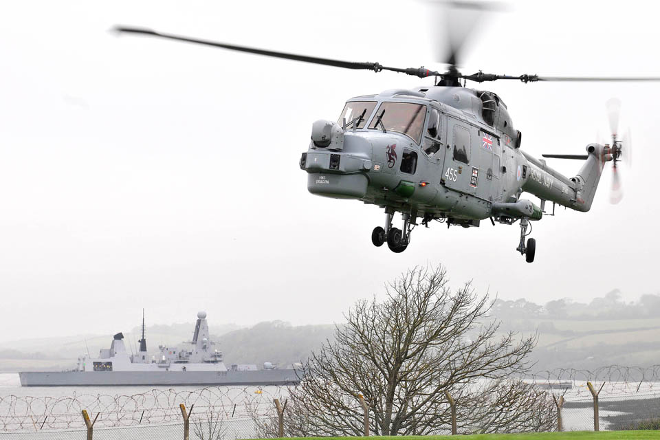 HMS Dragon's Lynx helicopter  was sent in to take the worst of the injured to a stand-in hospital in Cardiff or back to the ship