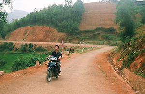 Thich drives along the new road