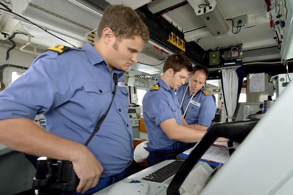 Bridge operations on board HMS Shoreham
