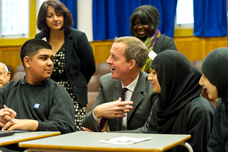 Nick Boles with students