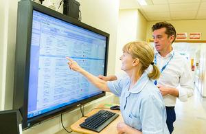 Nurse using a screen