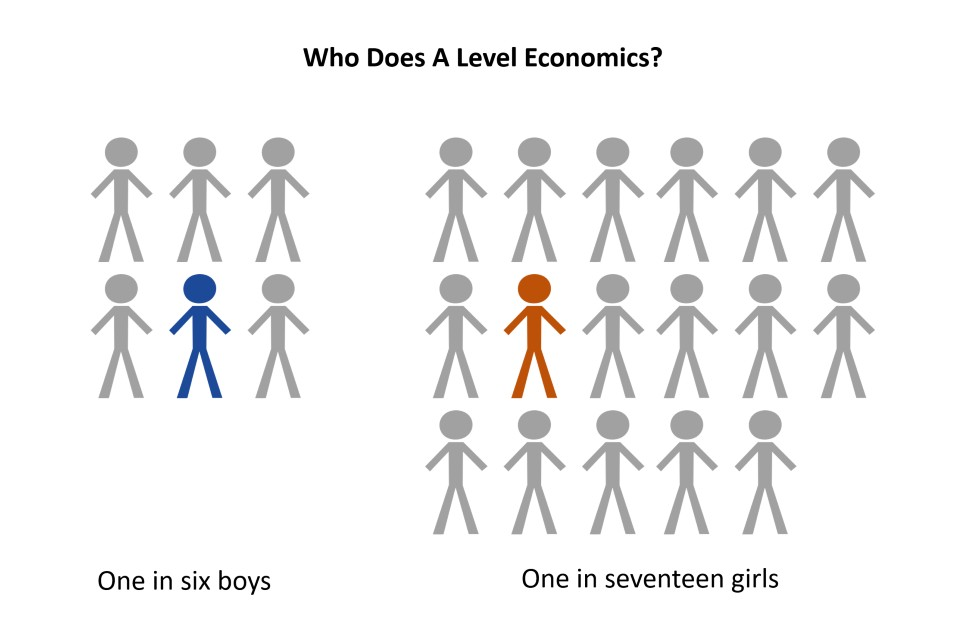 Who does A level economics? 1 in 6 boys, 1 in 17 girls