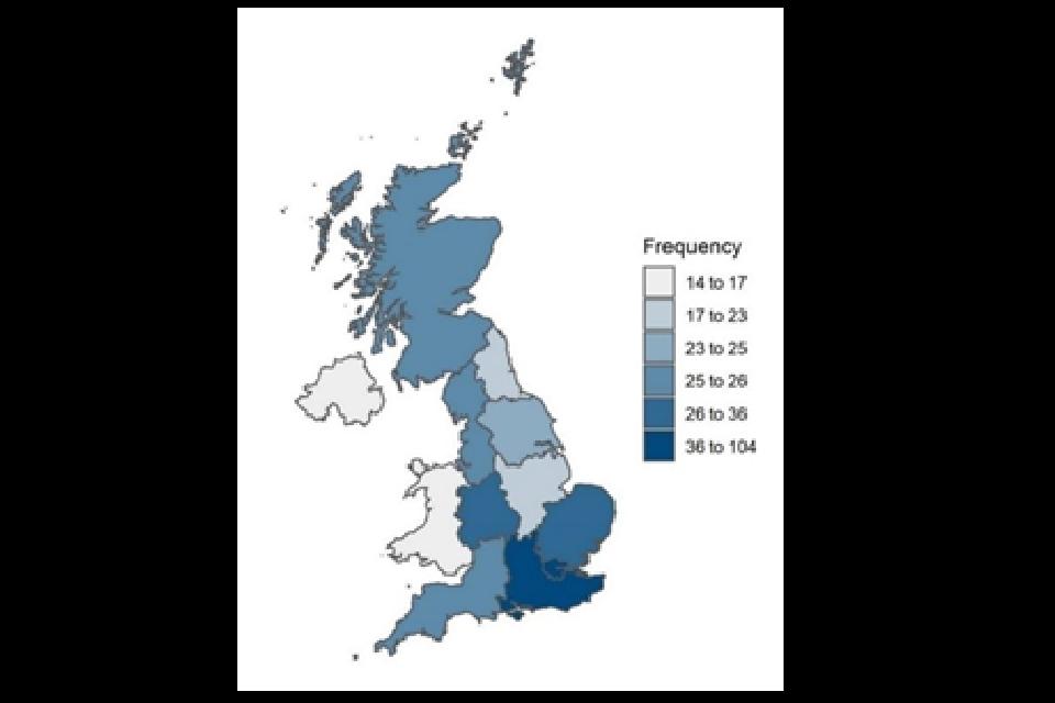 Breakdown of UK respondents by region