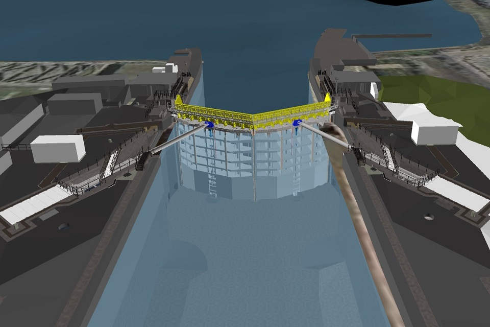 Model of proposed outer lock gates at the Port of Tilbury looking West