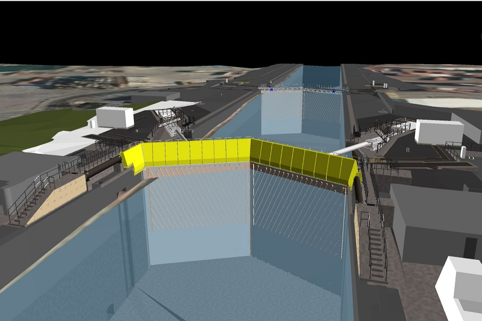 Model of proposed outer lock gates at the Port of Tilbury looking East