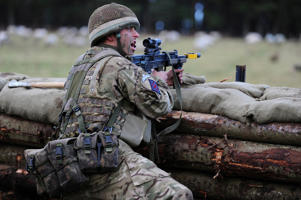 A sapper from 23 Engineer Regiment (Air Assault) defends his position