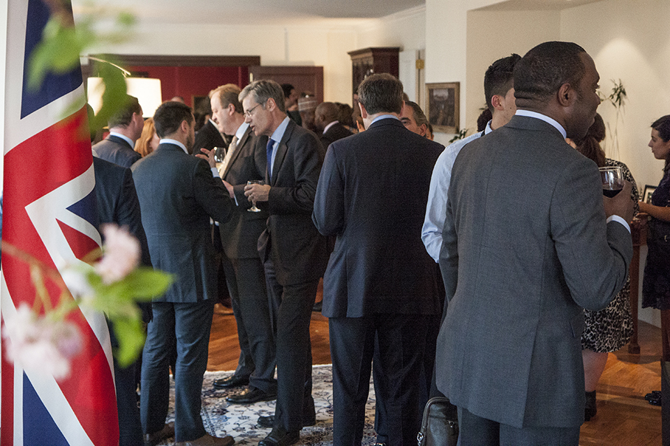 Guests network at the British residence.