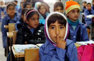 Children inside a classroom at Za'atri refugee camp, host to tens of thousands of Syrians displaced by conflict, near Mafraq, Jordan.