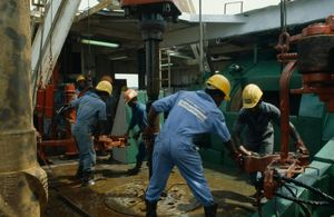 West Africa Rivers State Petroleum Industry Workers on oil rig drilling platform, Nigeria
