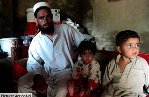 Izzat Khan and his 2 children in their rented house. Picture: ActionAid