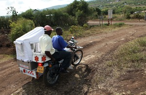 Racing to the rescue: a motorbike ambulance in a remote, rural area of Nyanza province, Kenya. Picture: Caroline Irby / Department for International Development