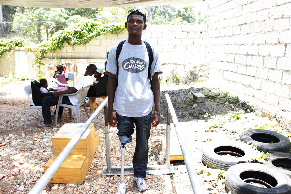 Joaquin, aged 22, walked again just ten days after receiving his prosthetic leg. Picture: Russell Watkins/DFID