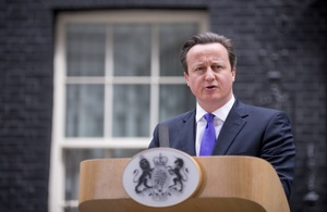 Prime Minister David Cameron speaking outside 10 Downing Street