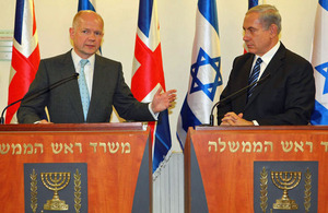 Foreign Secretary William Hague and Israeli Prime Minister Benjamin Netanyahu