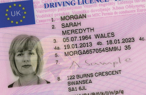 Image of a photocard driving licence