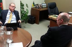 Saskatchewan Premier Brad Wall and Foreign Officer Minister Alistair Burt