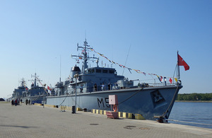 The handover of the former Royal Navy Hunt Class Mine Countermeasures Vessels to the Lithuanian Navy.