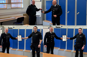 Pictures clockwise from top, PC Meston, PC Tinsley and PC Dixon receiving their commendations