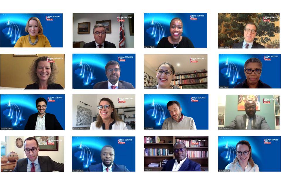 Screenshot of attendees, including Lord Chancellor Robert Buckland QC, at the virtual trade mission
