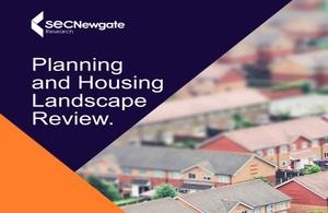 Front cover of Planning and Housing Landscape review showing images of houses