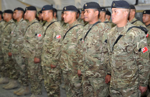 Tongan soldiers on parade at Camp Bastion
